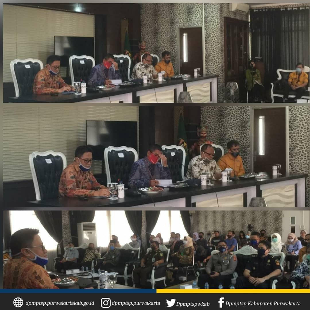 Rapat Koordinasi dan Evaluasi Pembangunan Mal Pelayanan Publik oleh Tim Deputi Bidang Pelayanan Publik Kementrian PAN-RB bertempat di Aula Janaka Setda Kab. Purwakarta