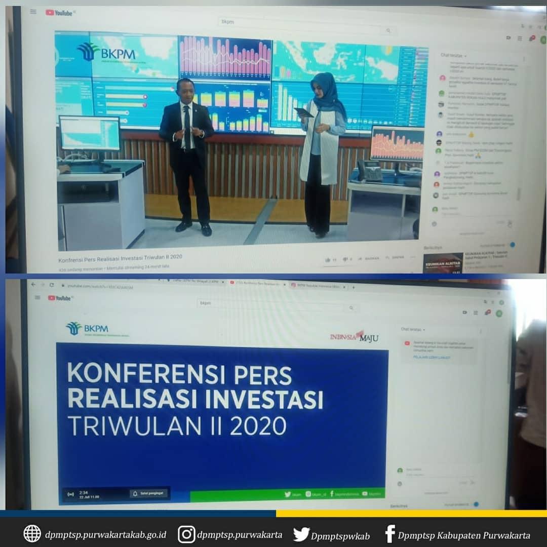 Konfrensi Pers Realisasi Investasi Triwulan II 2020 melalui Youtube Channel TV-Investasi Indonesia