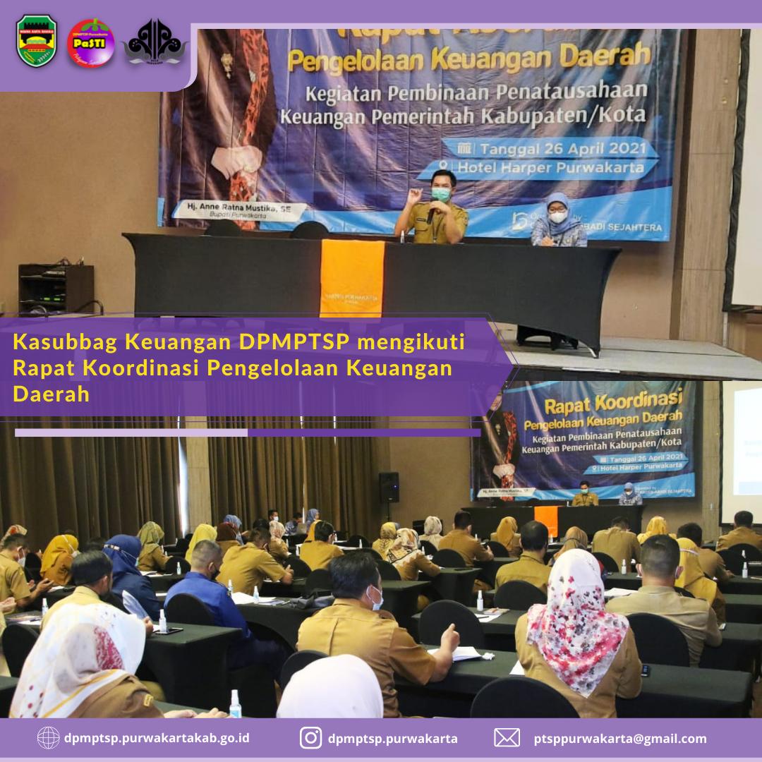 Senin (26/04/2021) Kasubbag Keuangan DPMPTSP mengikuti Rapat Koordinasi Pengelolaan Keuangan Daerah