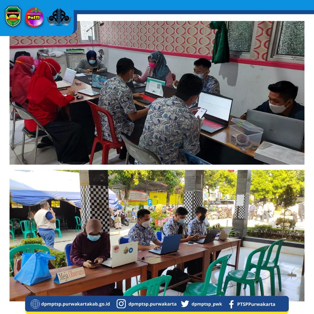 Sabtu, (04/09/2021) DPMPTSP Bertindak sebagai LO Melaksanakan Perbantuan Penginput Data Vaksinasi COVID-19 di Kantor Kecamatan Purwakarta dan Puskesmas Munjuljaya