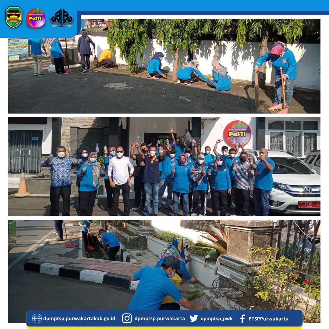 Pegawai DPMPTSP Melaksanakan Gerakan Kebersihan di Lingkungan Kantor DPMPTSP dalam rangka World Clean Day (WCD) Tahun 2021